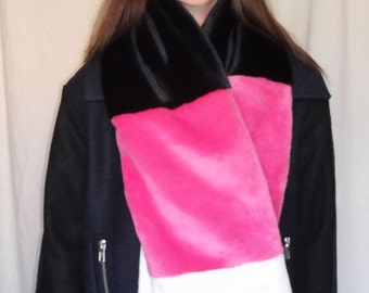 Long Multi Coloured Faux Fur Scarf in Fuscia Pink, Ivory and Black