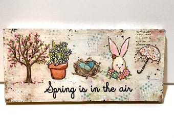 Spring Decor, Farmhouse Decor, Spring Sign, Spring is in the air, bunny, floral tree, bird nest