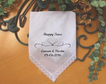 Wedding Guests handkerchief, Personalized PRINTED wedding Handkerchief, Happy Tears Handkerchief, Wedding Favor, custom. LS6FMON[156]