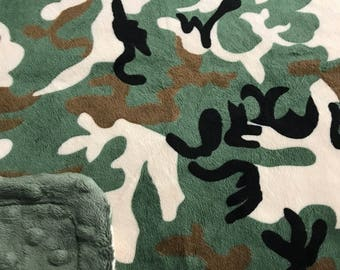 Minky Blanket - Camo Print Minky with Olive Green Dimple Dot Minky Backing Perfect Size Blanket - perfect gift for a boy and hunting theme