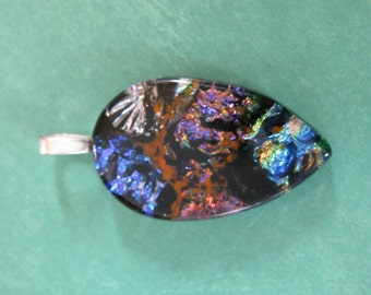 Colorful Dichroic Glass Pendant, OOAK, Fused Glass Necklace Slide - Elise - 4158 -4