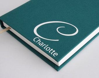 Initial journal - include your first name, initial and choose from various contemporary colours