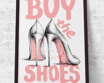 Buy the shoes Fashion Poster Louboutin High Heels Archival Art Print, Home decor, Wall art Illustration Artwork Elegant Pink Fresh Girly