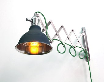 Industrial Scissor Articulating Wall Lamp Light With Green Wire and Black Shade - Accordion lamp - Mid Century Machine Age Lamp Style