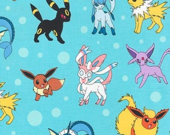 In Stock - Pokemon Eevee Characters on Aqua From Robert Kaufman