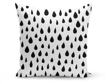 Black and White Rain Drops Pattern Pillow Cover: Contemporary, Minimalist, Scandinavian, Nordic, Cushion, Bedding, Tumblr Decor, Baby Room