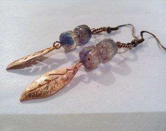 Earrings boho chic, czech glass, hippie, rustic jewelry, Pearl Earrings in copper, girls gift idea