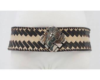 VINTAGE - 90's - BOHO - Black - Beige - LEATHER - Silver - Metal - Buckle - Woven - Hip - Belt - M - L - Medium - Large