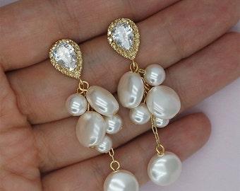 30% Off Sale Cluster Pearl Earrings Gold Chandelier Earrings Pearl Bridal Earrings Crystal Wedding Earrings Off White Pearls Ivory Pearls Ea