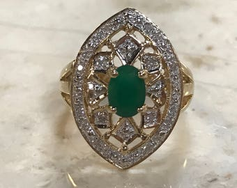 Antique emerald diamond multistone 10k ring