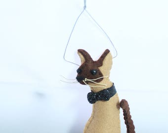 Felt Cat Ornament, Siamese, kitty, animal lover, cat lover, pet loss, pet gifts, unique gifts, pet memorial