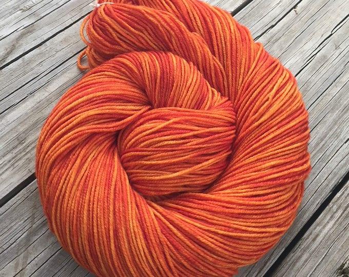 Hand Dyed DK Yarn Lusty Wench Orange Hand Painted yarn 274 yards handdyed dk sport weight Superwash Merino Wool swm pumpkin tangerine