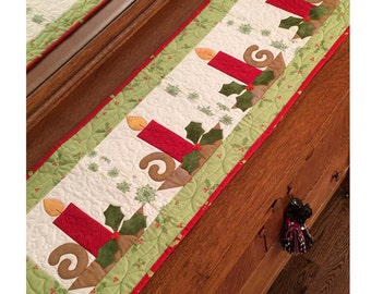 Christmas Candles Table Runner Pattern