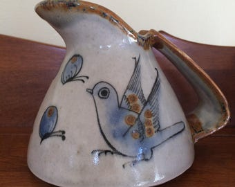 Ken Edwards Mexican Pottery Cream Pitcher with Butterflies and Bird Tonala Jalisco