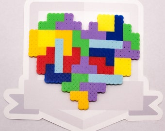 Tetris Heart Perler Bead Sprite || Gaming, Accessory, Wearable, Gift, Magnet, Necklace