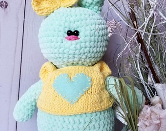 Plush Bunny Tilda Crochet bunny Baby gift Stuffed bunny Interior doll tilda Decorative doll Crochet gifts Easter bunny Clothes doll