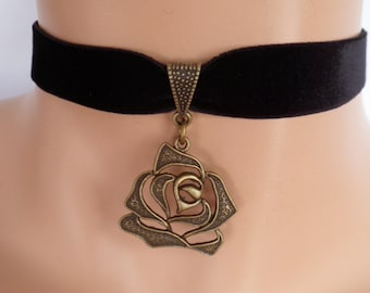 black velvet choker, rose choker, rose necklace, stretch ribbon, antique bronze