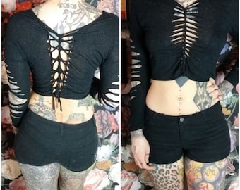 Top Tanktop CropTop Black cutouts cut out Goa Pixie Forest psy lace boho Burning Man Gothic yoga tapes lacing Bondage