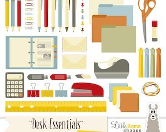 Office Supplies Clip Art, School Supplies Clipart, Desk Essentials Clip Art, Commercial Use, Pens, Binder, Tape, Calculator, Ruler
