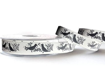 Ribbon ivory chic bird motif and grey 15 mm
