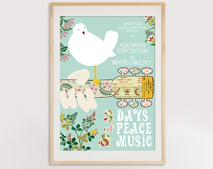 Typographie Woodstock Birdie Collage Print  - 3 days of peace and music