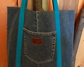 Upcycled Market Tote, Upcycled Denim Tote, Reusable Denim Shopping Bag, Denim Market Tote, Denim Grocery Bag