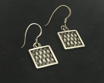 Moroccan Braided Square Sterling Silver Earrings