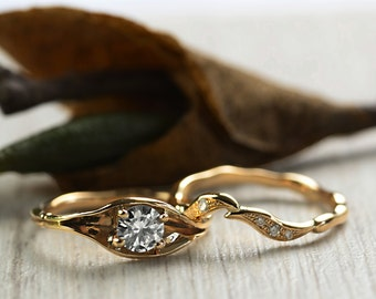 Diamond Engagement and Wedding Rings Set - Diamond Twig Engagement Ring - Diamond Wedding Ring - 18 ct Yellow Gold - Hand made to order