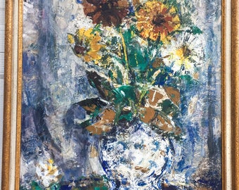 Oil Painting on Board Expressionist Flower Still Life Painting Hungarian.