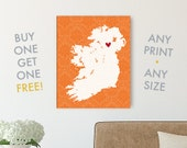 Ireland Art Print Gift - Choose which city your heart belongs to in 8x10, 11x14, and 12x16, plus Canvas!