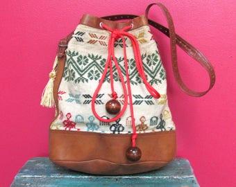 Vintage Leather & Woven Textile Shoulder Bag Purse