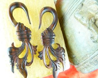 6mm Wood Tribal Taper Earrings -  2 Gauge Sono Wood Earring Tapers - 6 mm Wooden Handcrafted earring plugs *D007