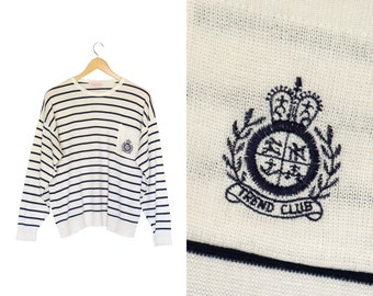 Vintage striped pullover. Navy blue and white. Womens sweater. Striped pullover sweater.