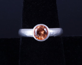 Lab Created Orange Sapphire 6mm Round Bezel Sterling Silver Ring