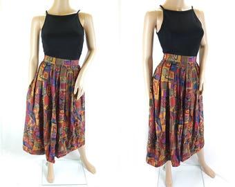 Vintage Autumnal Coloured Midi Skirt in Bold Print - Size 12/14 UK   (8/10 US)