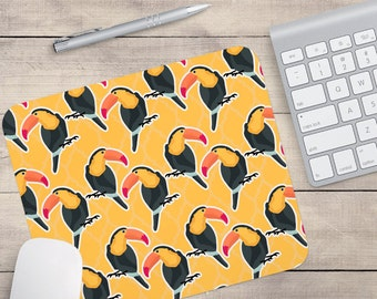 Yellow Orange Toucan Mouse Pad, Tropical Mouse Pad, Pattern Mouse Pad, Hawaii Mouse Pad, Toucan Coaster (0041)