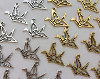 10pcs Origami Crane Charm - Gold or Silver