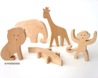 Wooden jungle animals - Elephant, Lion, Monkey, Giraffe, Crocodile - Rainforest animals - Holztiger wooden animals - Safari