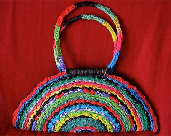 Recycled plastic crocheted fashion purse,Upcycled plastic crocheted purse, Multicolored recycled plastic crocheted purse