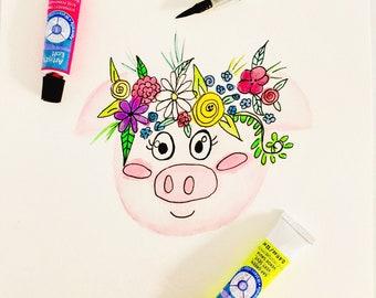 Watercolor pig art