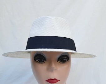 Ivory Fedora Summer Hat / Womens Woven Straw Fedora / Fedora Hat Larger Head Sizes Also Available In LG & XLG