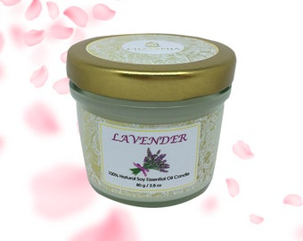 Scented Natural Soy Candle Lavender in Small Jar 80 g (2.8 oz) - 24 Hour Burn Time
