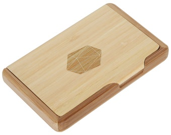 D20 Bamboo Business Card Holder With Laser Engraved Design - Business Card Keeper - Holds Up To 10 Cards