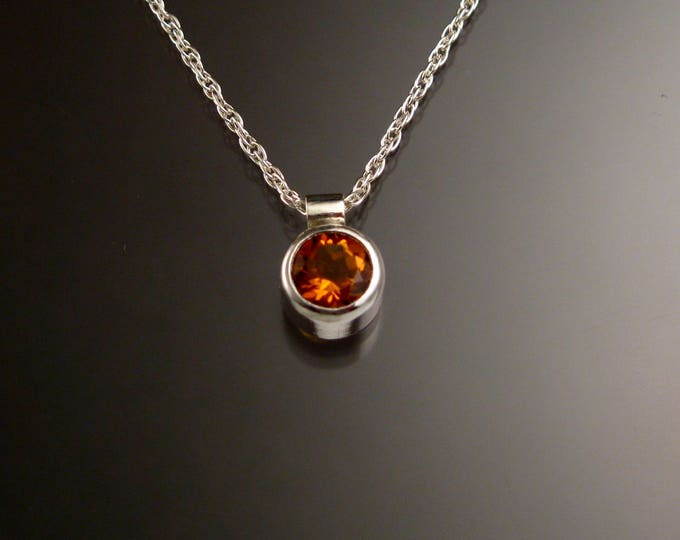 Citrine Necklace Sterling Silver Bezel set natural Topaz substitute gemstone on 18 inch French Rope chain