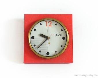 Vintage 70s 80s Kitchen Wall Clock / Red Orange Clock / Russian 70s