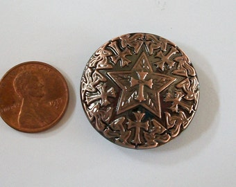 Concho Antiqued Copper Star with Crosses Screwback