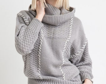 70s Stormy Light Grey Oversized Cream Whip Stitch Cowl Neck Knit Long Sleeve Sweater L
