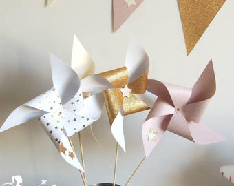 Set of 10 pinwheels wind pink powder, ivory and gold decor star