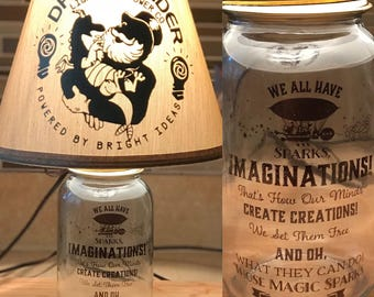 Dream Finder and Figment Inspired Silhouette Mason Jar Lamp