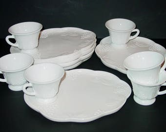 Colony Milk Glass Harvest Snack Sets, Service for (6), Snack Plates, Snack Cups, Grapes & Leaves, Indiana Glass, Lunch Plates